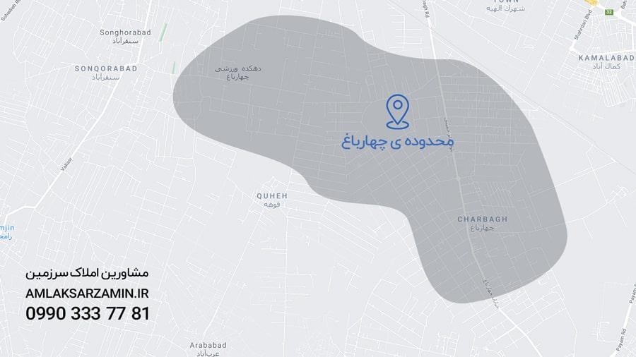 نقشه هوایی چهارباغ کرج